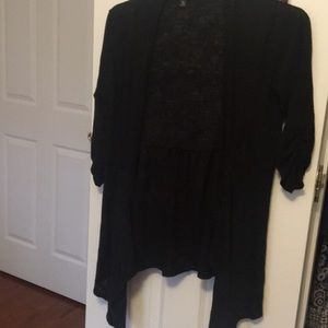 Heathered Black Ruched Sleeve & Back Cardigan